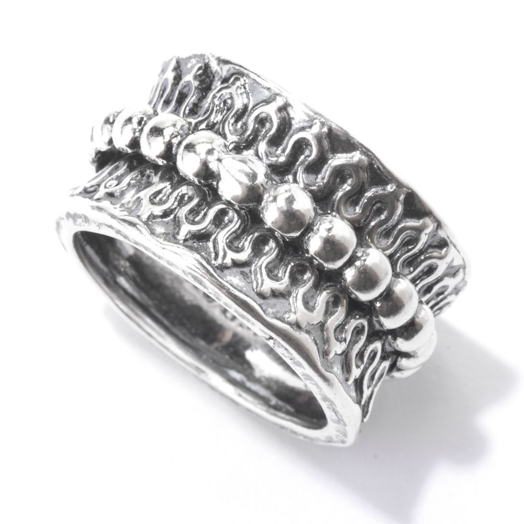 142-900 - Passage to Israel Sterling Silver Beaded Wide Band Spinner Ring