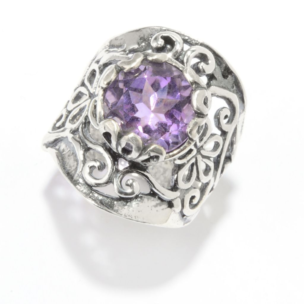 142-909 - Passage to Israel Sterling Silver 3.00ctw Gem Textured Floral Wide Band Ring