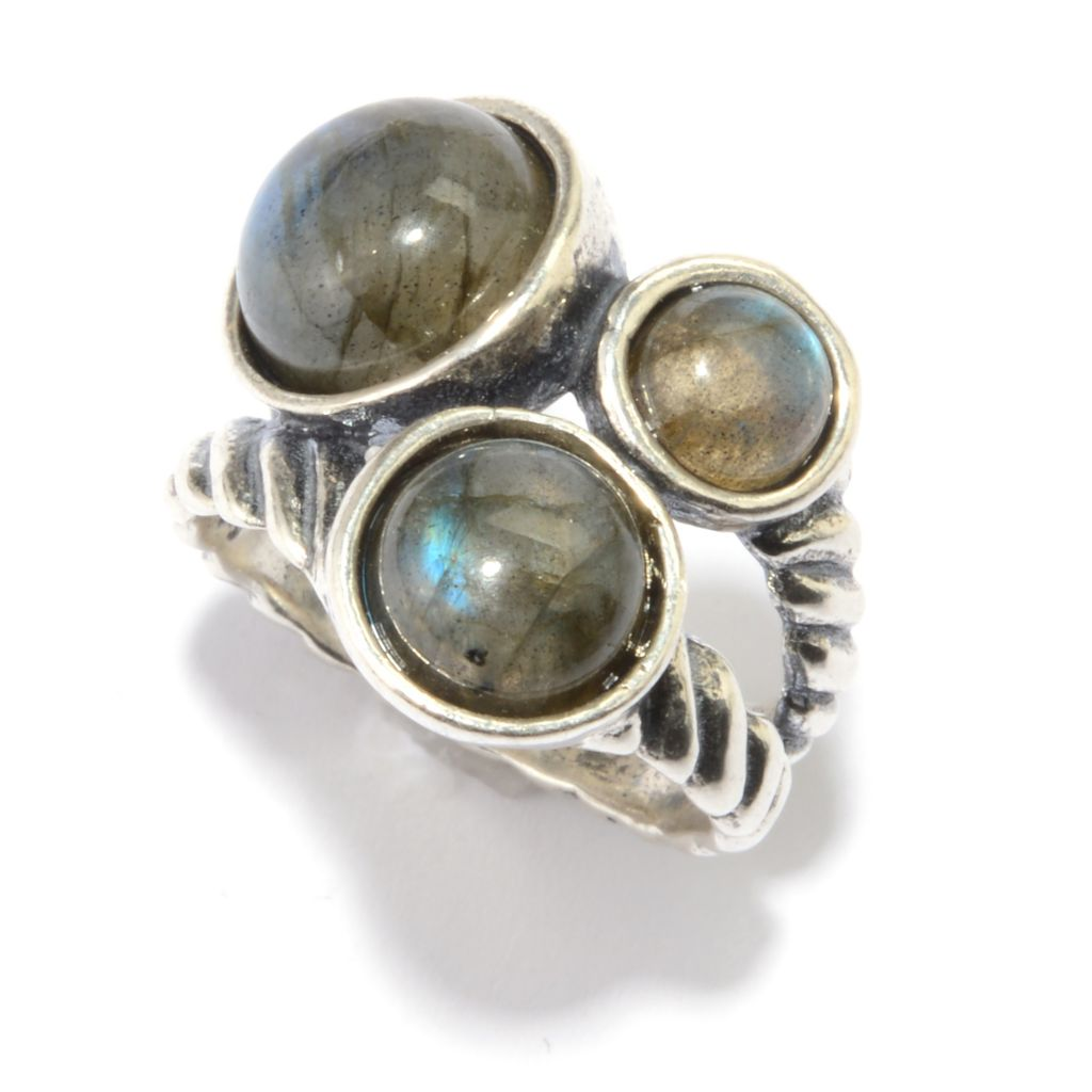 142-912 - Passage to Israel Sterling Silver Labradorite Three-Stone Split Shank Ring
