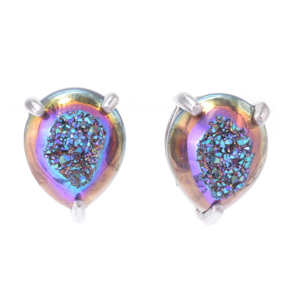 142-947 - Gem Insider Sterling Silver 12 x 10mm Pear Shaped Drusy Stud Earrings