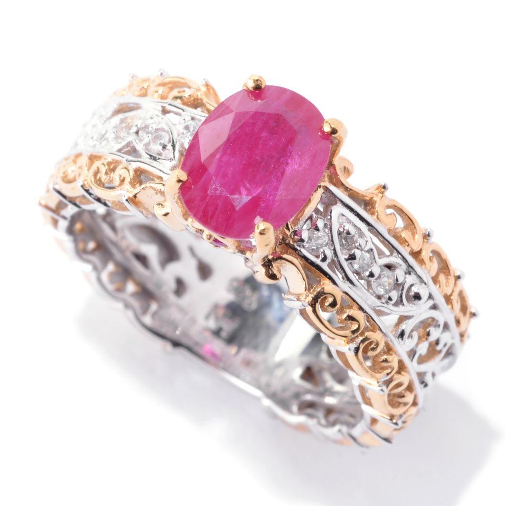 142-951 - Gems en Vogue Oval & Round Gemstone & White Sapphire Scrollwork Ring