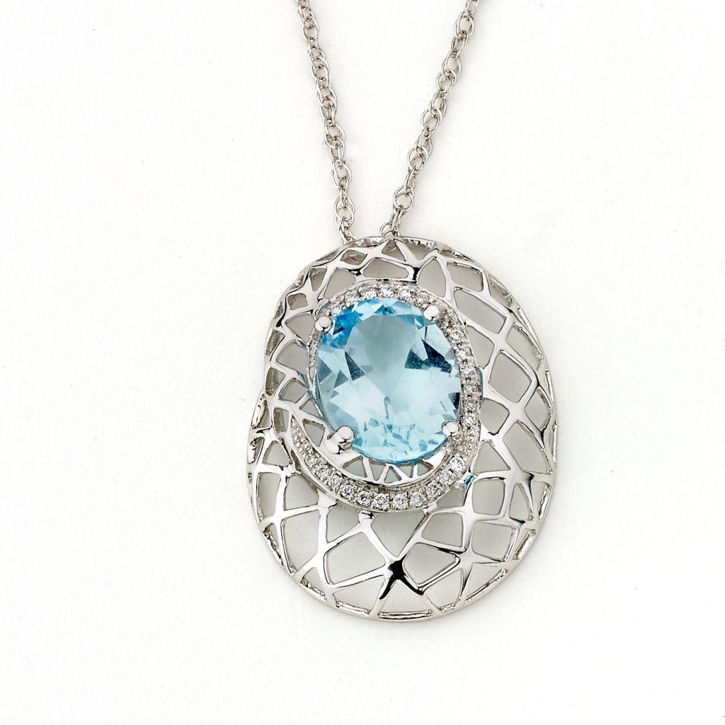 "142-966 - SoHo Boutique 14K White Gold 2.92ctw Diamond & Blue Topaz Pendant w/ 18"" Chain"