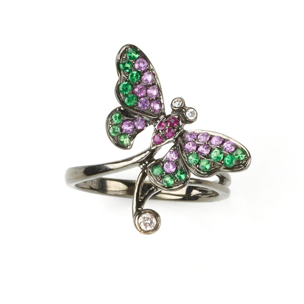 142-975 - SoHo Boutique 18K Rose Gold Diamond & Multi Gemstone Butterfly Ring - Size 7