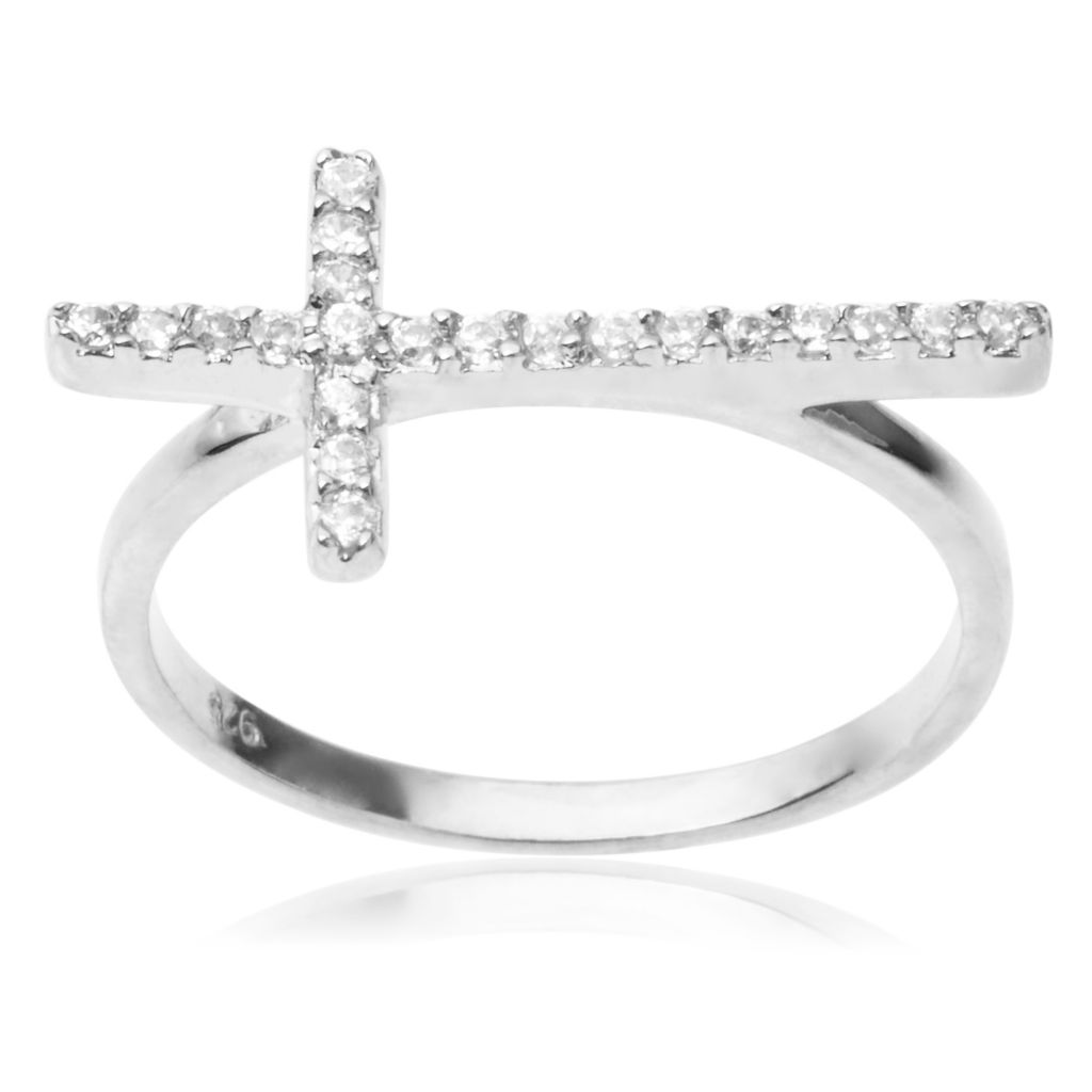 142-977 - Tressa Collection Sterling Silver Simulated Diamond Cross Ring