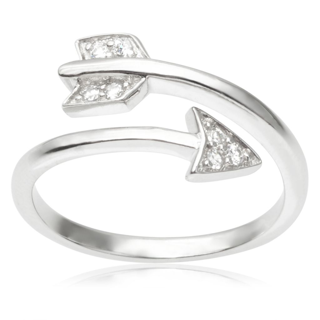 142-978 - Tressa Collection Sterling Silver Simulated Diamond Arrow Bypass Ring