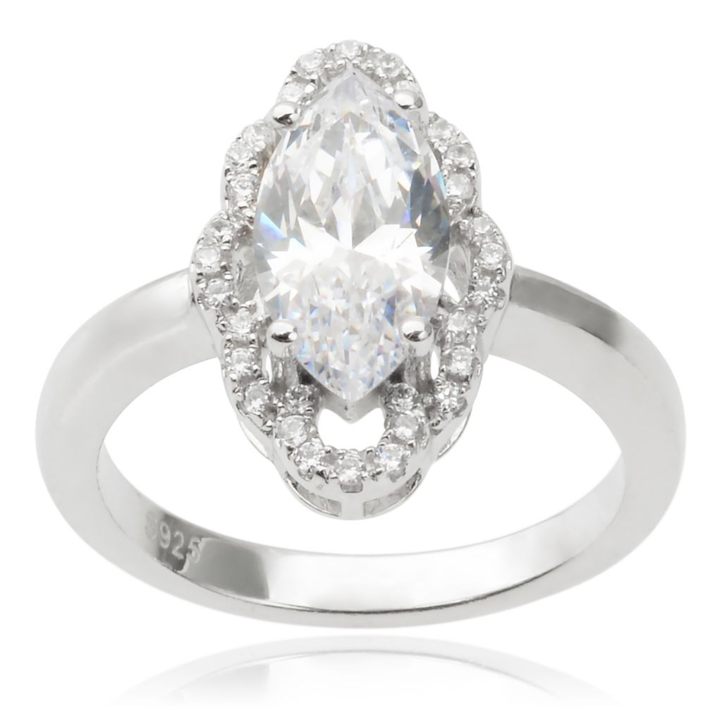 143-053 - Tressa Collection Sterling Silver Marquise Simulated Diamond Ring