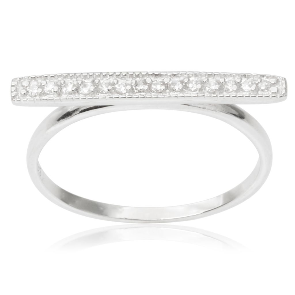 143-057 - Tressa Collection Sterling Silver Simulated Diamond Bar Ring