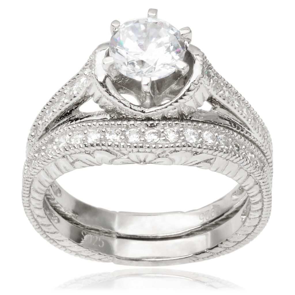 143-059 - Tressa Collection Sterling Silver Simulated Diamond Ring Set