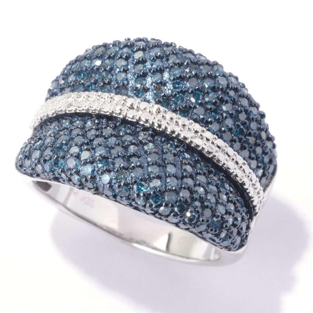143-074 - Diamond Treasures Sterling Silver 1.00ctw Blue Diamond Wide Concave Ring