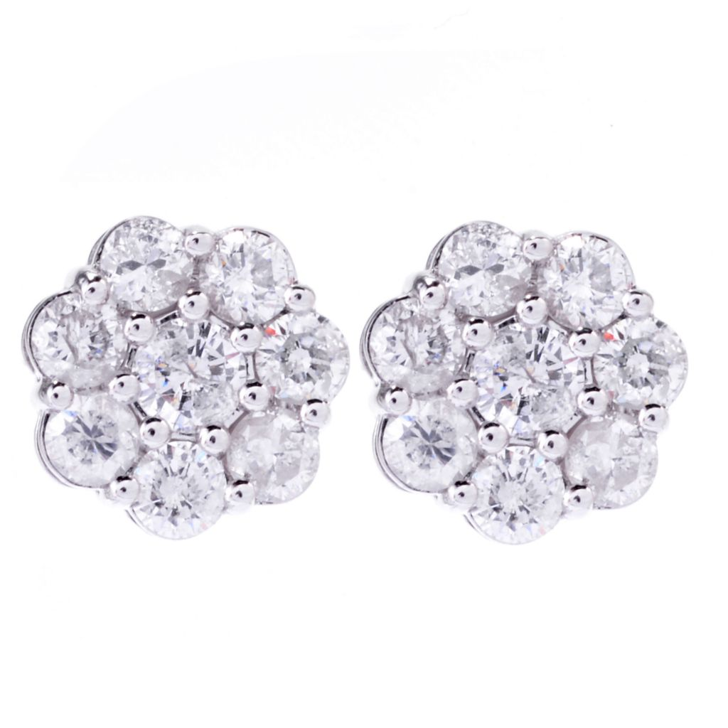 143-077 - Diamond Treasures 14K White Gold 1.34ctw Diamond Flower Cluster Stud Earrings