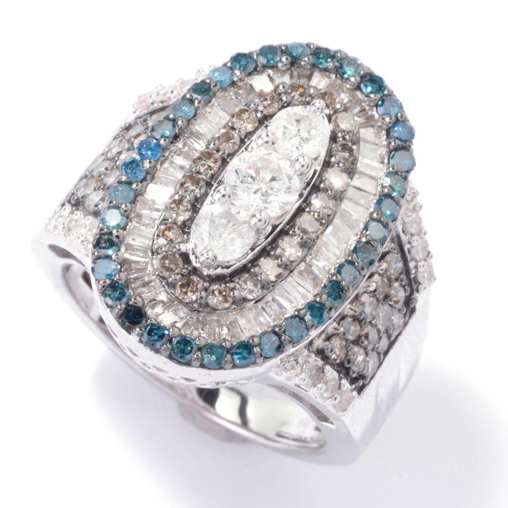 143-080 - Diamond Treasures Sterling Silver 1.73ctw Fancy Diamond Oval Terraced Ring
