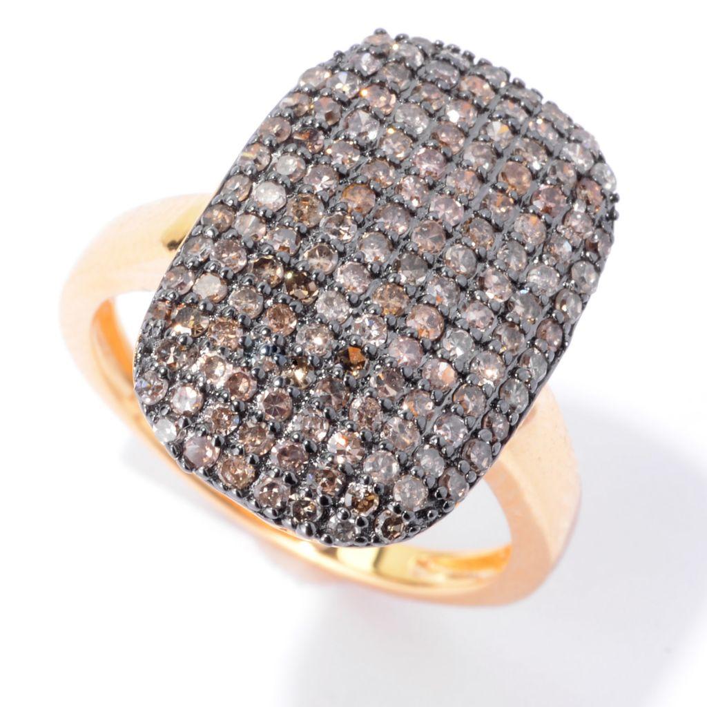 143-081 - Diamond Treasures 14K Gold Embraced™ 0.97ctw Champagne Diamond Rectangle Ring
