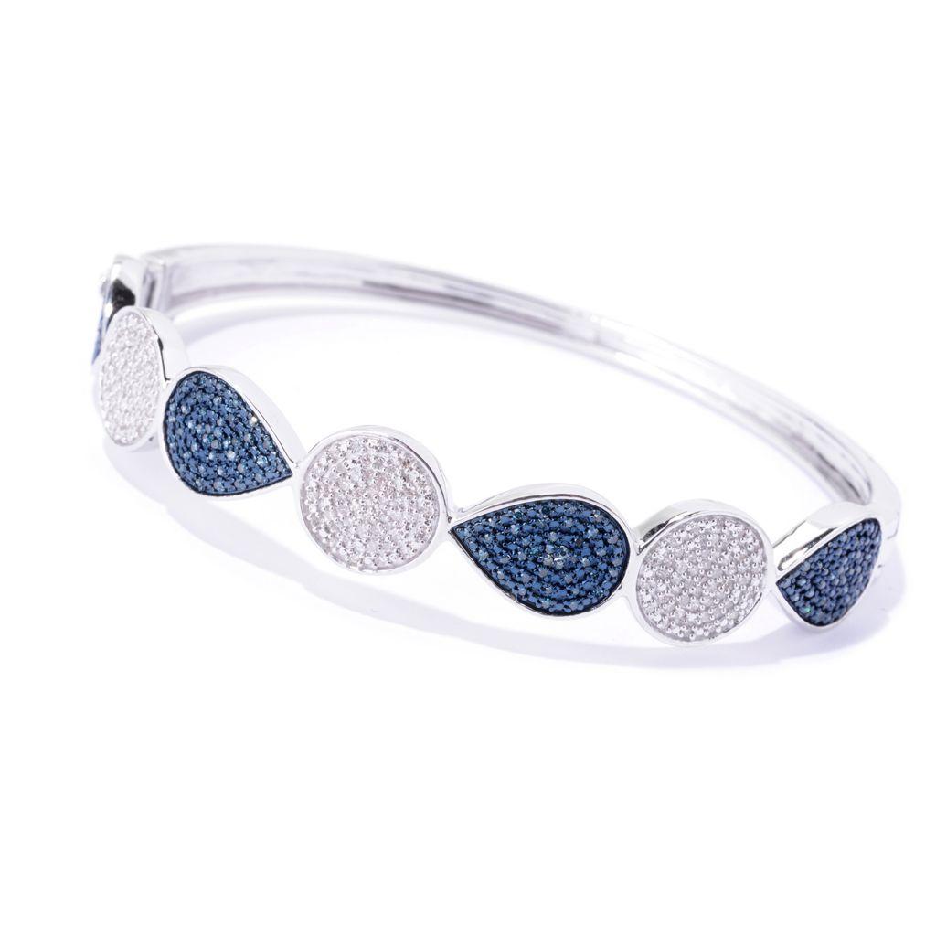 "143-082 - Diamond Treasures Sterling Silver 7"" 0.90ctw Blue & White Diamond Bangle Bracelet"
