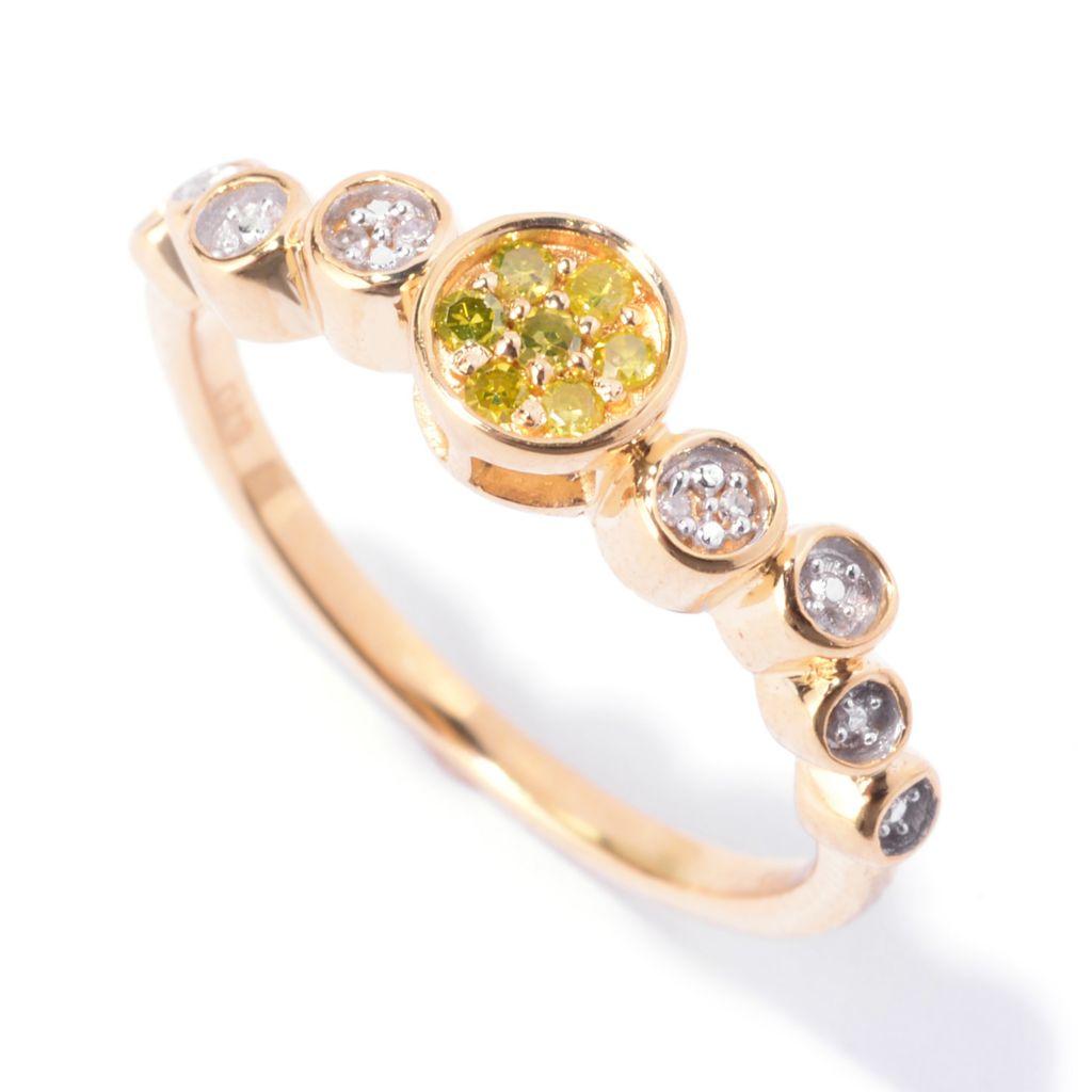 143-083 - Diamond Treasures Sterling Silver 0.10ctw Fancy Color Diamond Bezel Ring