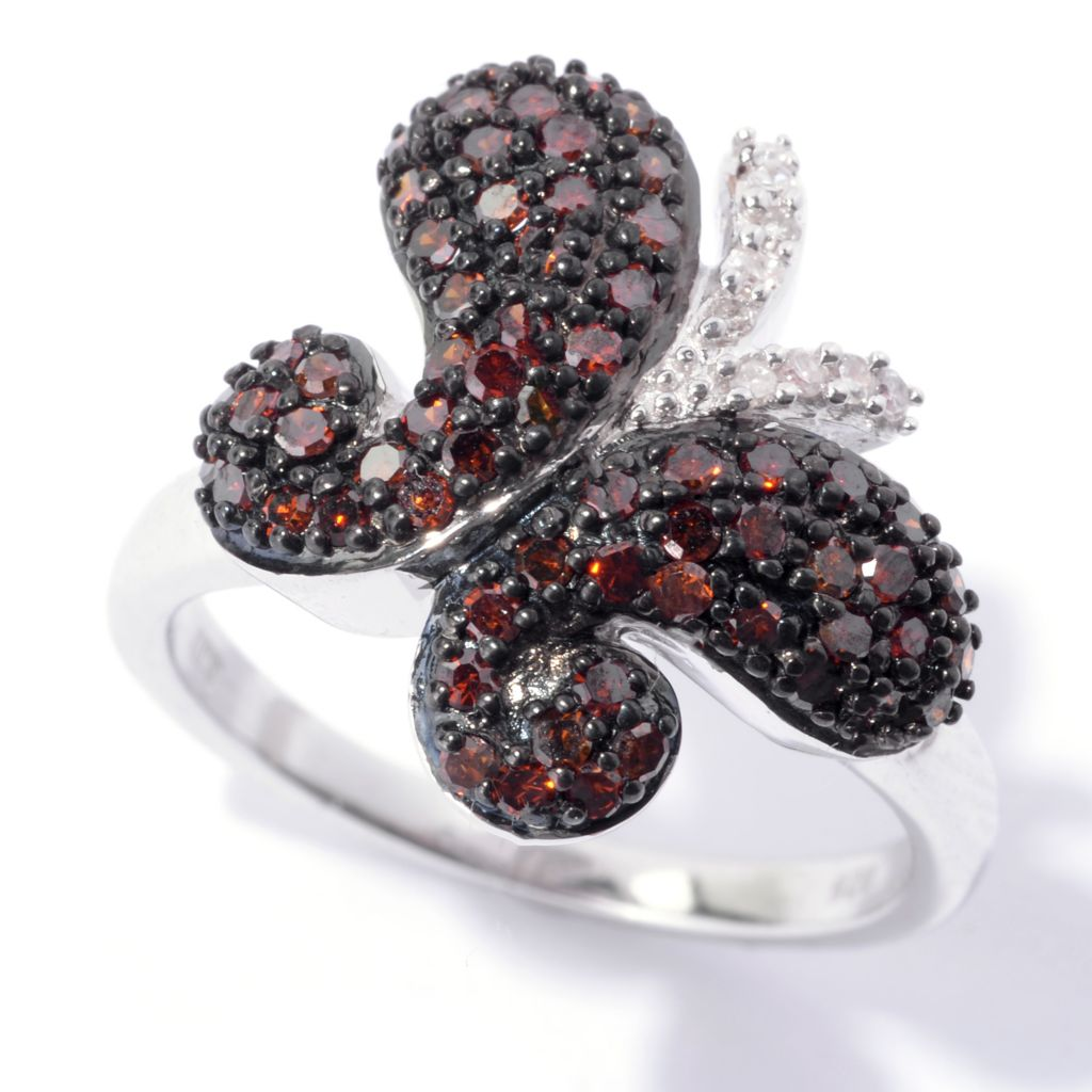 143-084 - Diamond Treasures Sterling Silver 0.70ctw Red & White Diamond Butterfly Ring