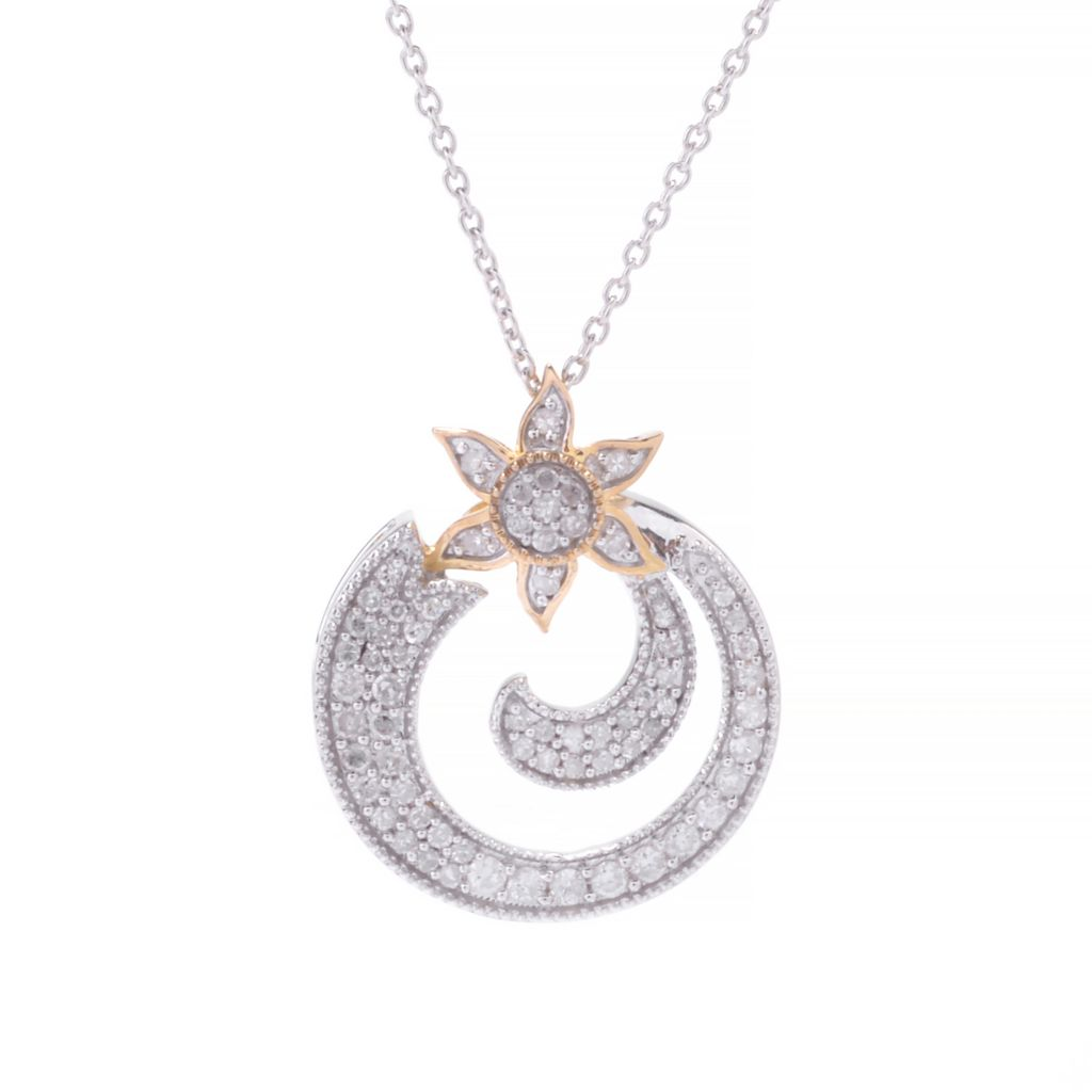 143-085 - Diamond Treasures Two-tone 0.48ctw Diamond Geometric Sun Pendant w/ Chain