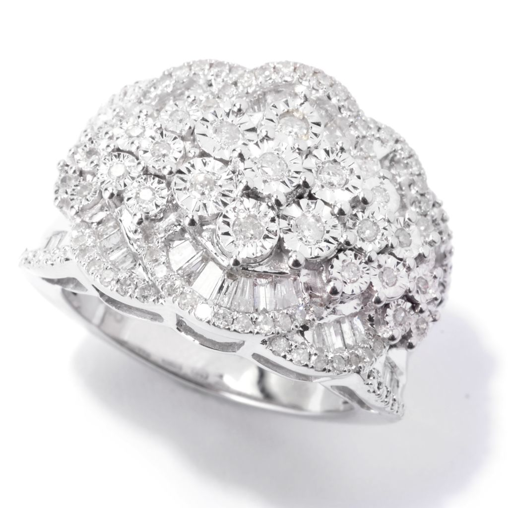 143-089 - Diamond Treasures Sterling Silver 1.04ctw Baguette & Round Diamond Terraced Ring