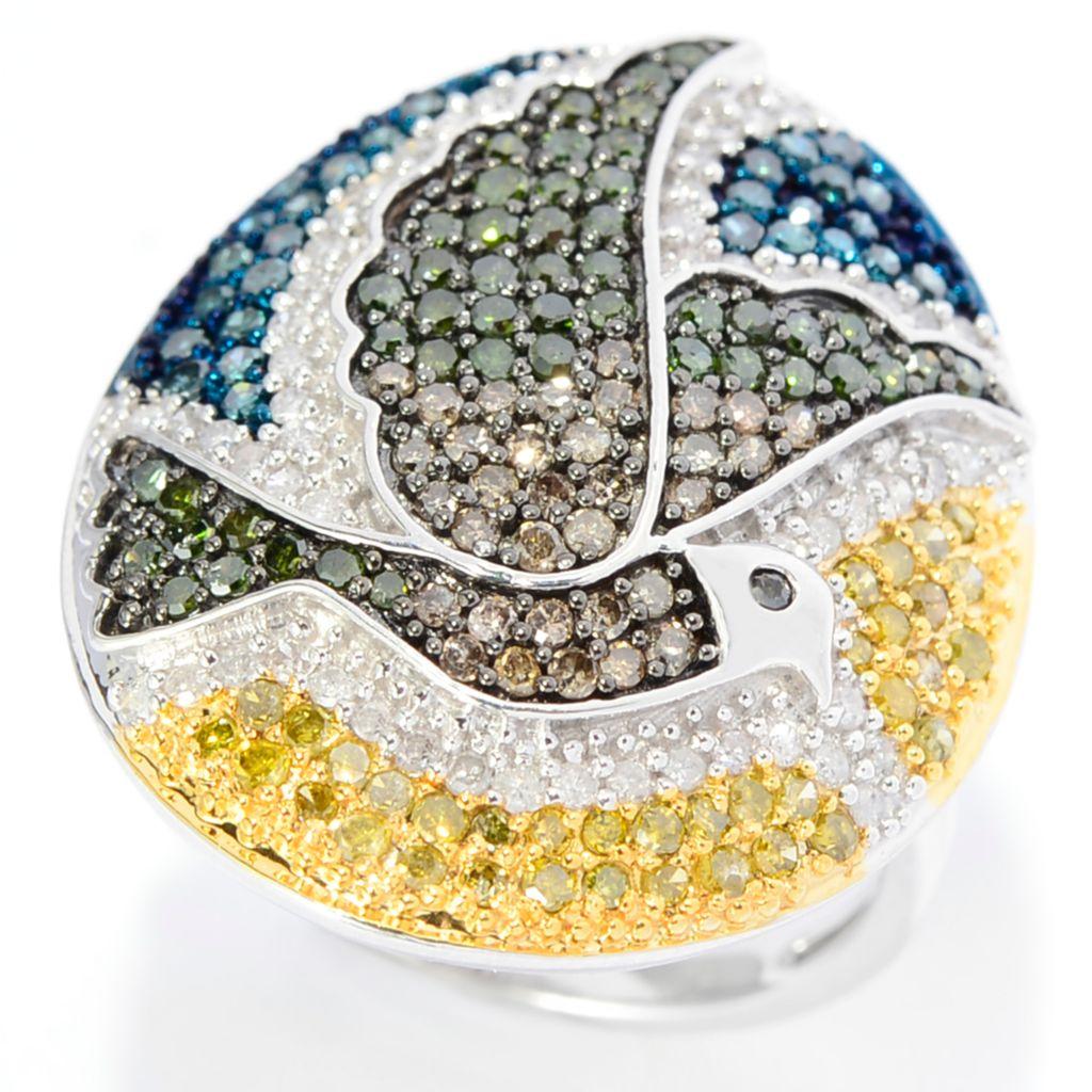 143-091 - Diamond Treasures Sterling Silver 1.22ctw Fancy Color Diamond Dove Oval Ring