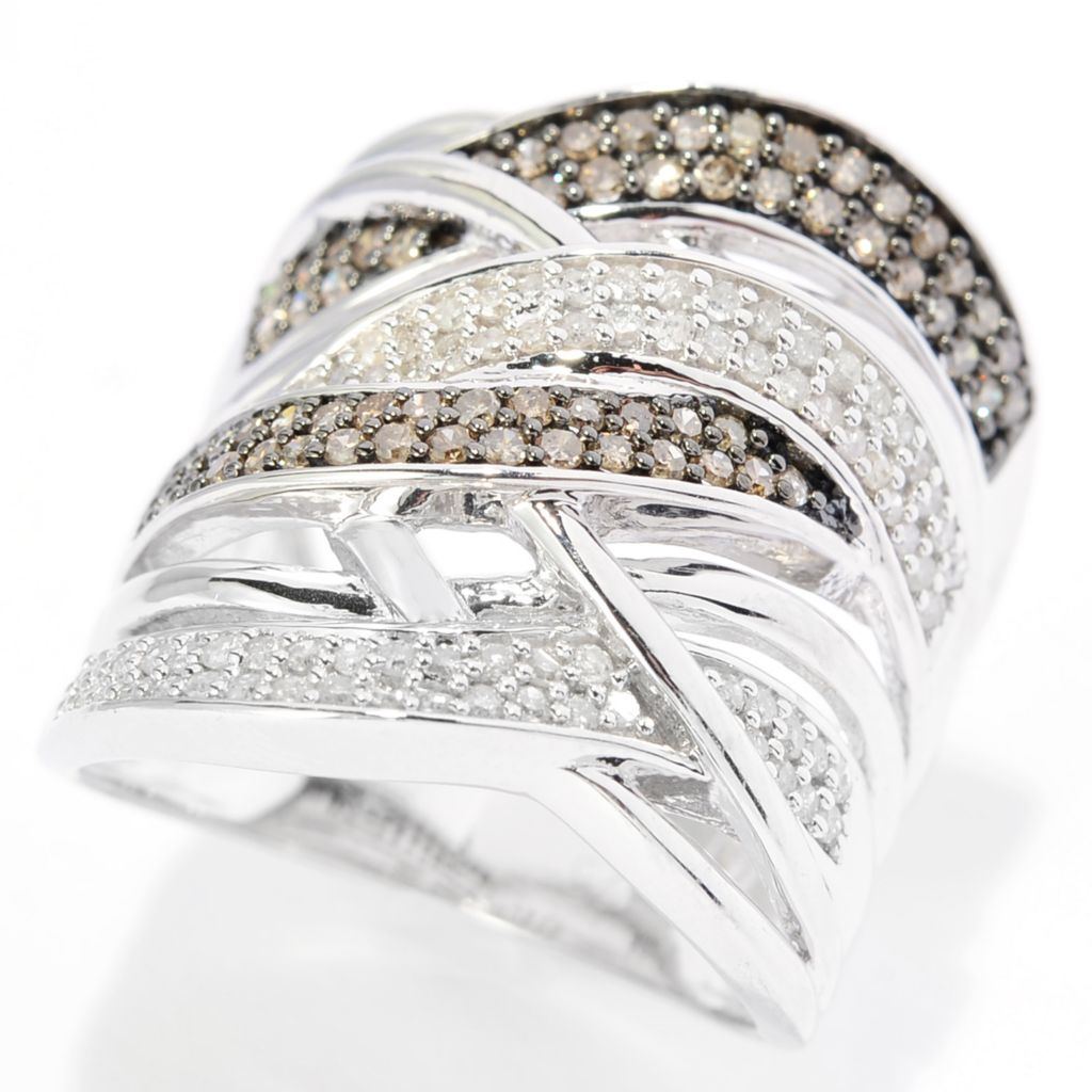 143-092 - Diamond Treasures Sterling Silver 0.75ctw Champagne & White Diamond Crisscross Ring