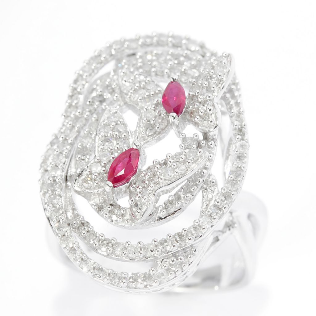 143-093 - Diamond Treasures Sterling Silver 1.00ctw Diamond & Ruby Butterfly Ring