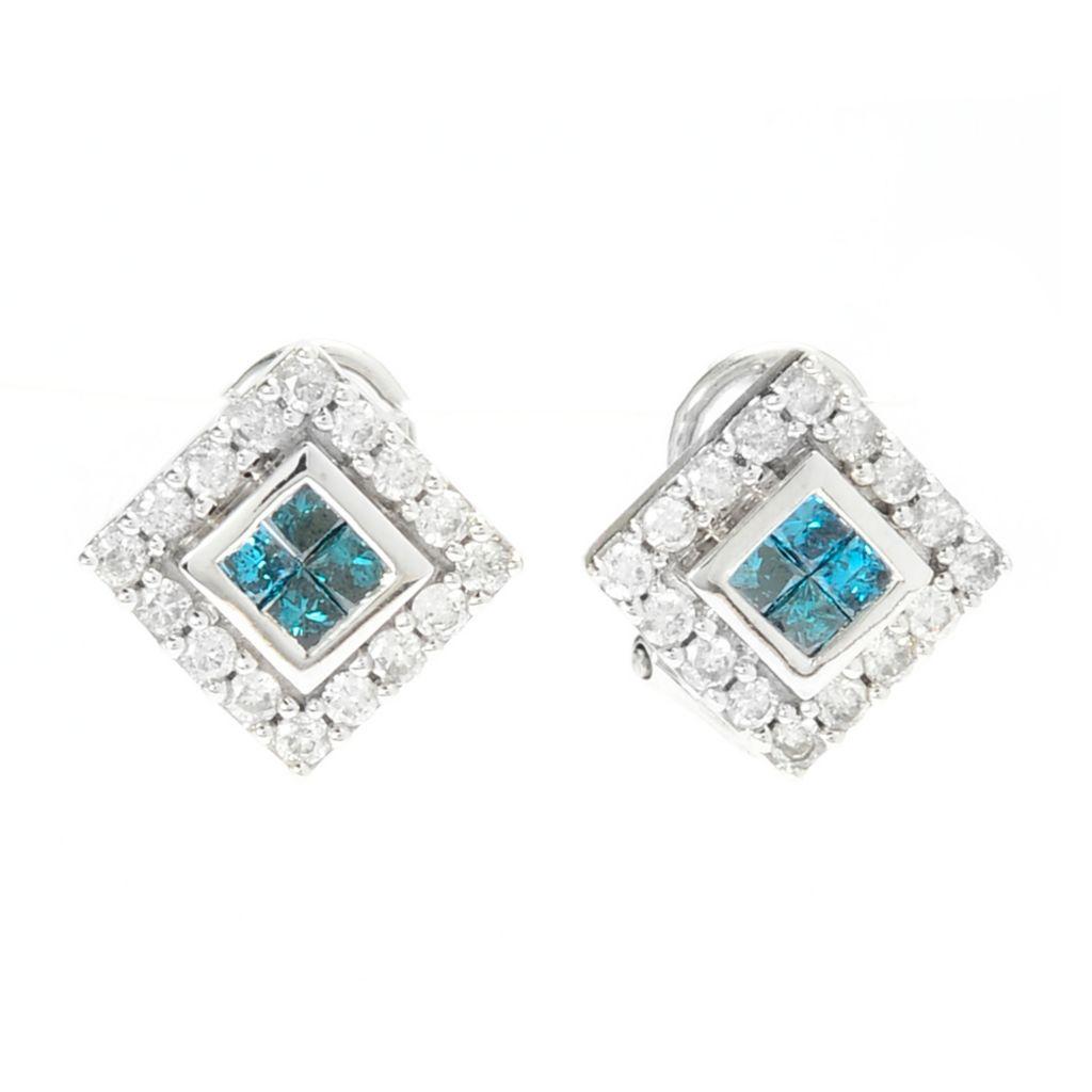 143-095 - Diamond Treasures 14K White Gold 1.00ctw Diamond Square Earrings w/ Omega Backs