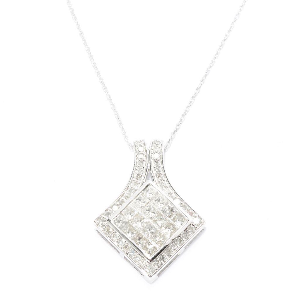 143-096 - Diamond Treasures 14K White Gold 1.50ctw Fancy Color Diamond Square Pendant