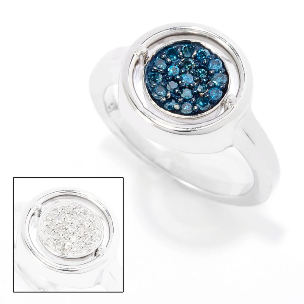 143-103 - Diamond Treasures Sterling Silver 0.33ctw Blue & White Diamond Flip Ring