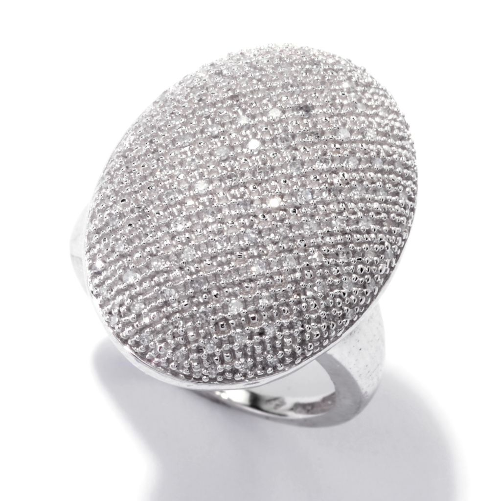 143-104 - Diamond Treasures Sterling Silver 0.33ctw Diamond North-South Oval Ring