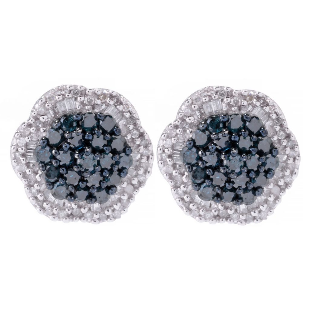 143-106 - Diamond Treasures Sterling Silver 1.01ctw Fancy Diamond Flower Stud Earrings