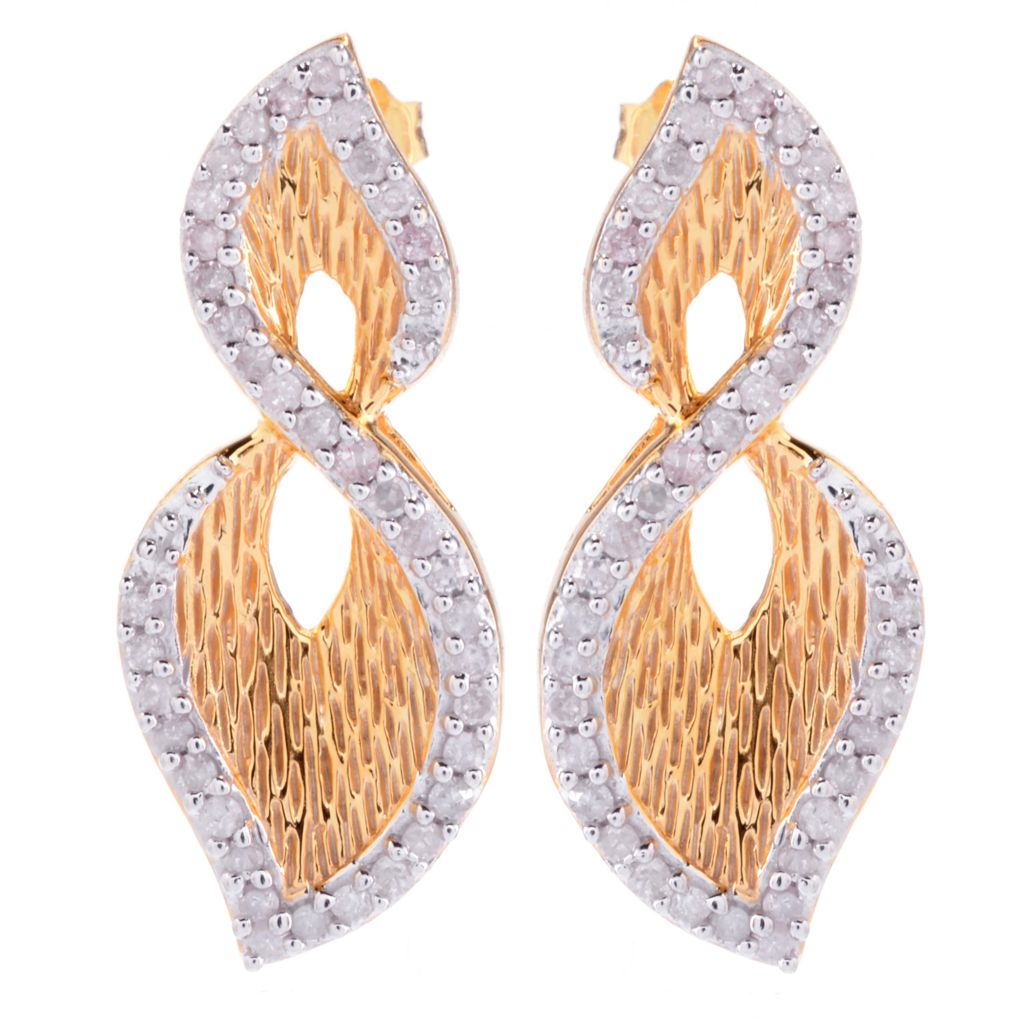 """143-107 - Diamond Treasures Sterling Silver 1"""" 0.51ctw Diamond Textured Abstract Infinity Earrings"""