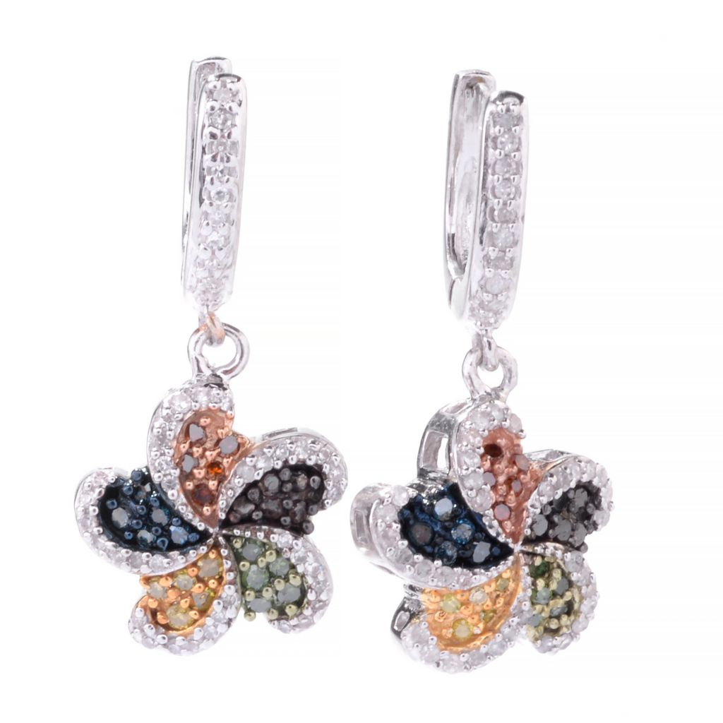 "143-109 - Diamond Treasures Sterling Silver 1"" 0.52ctw Fancy Diamond Flower Drop Earrings"