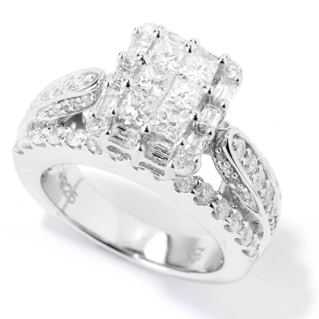 143-111 - Diamond Treasures Sterling Silver 2.00ctw Princess & Round Diamond Rectangle Ring
