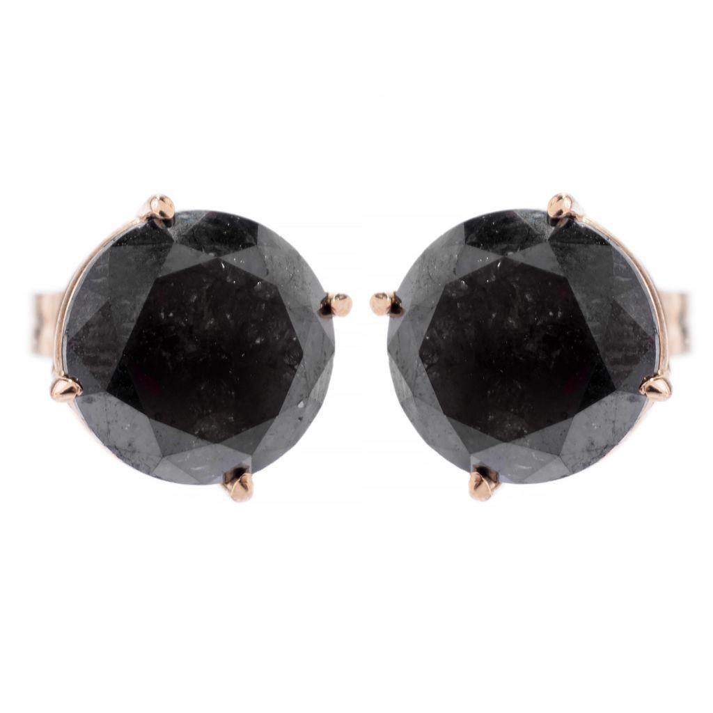 143-195 - Diamond Treasures 14K Gold 2.00ctw Round Black Diamond Stud Earrings