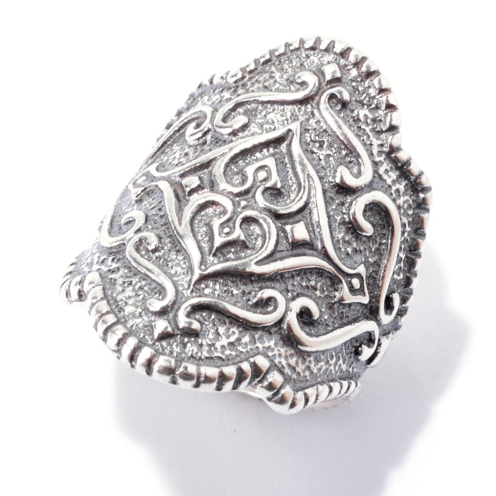 143-231 - Passage to Israel Sterling Silver Textured North-South Elongated Ring