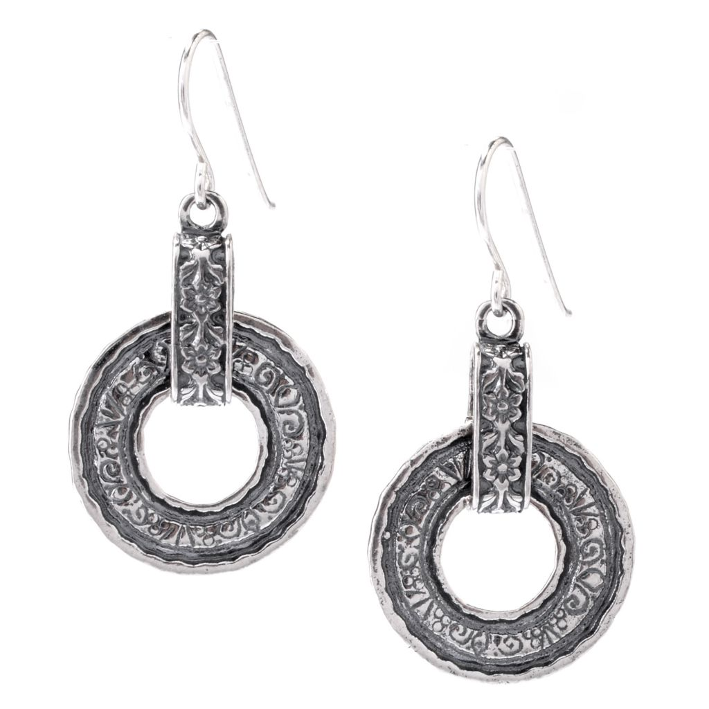 "143-232 - Passage to Israel Sterling Silver 1.5"" Textured Circle Drop Earrings"
