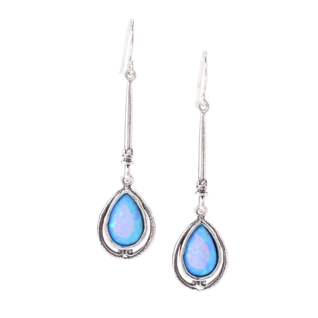 "143-233 - Passage to Israel Sterling Silver 2"" 12 x 8mm Simulated Blue Opal Teardrop Earrings"