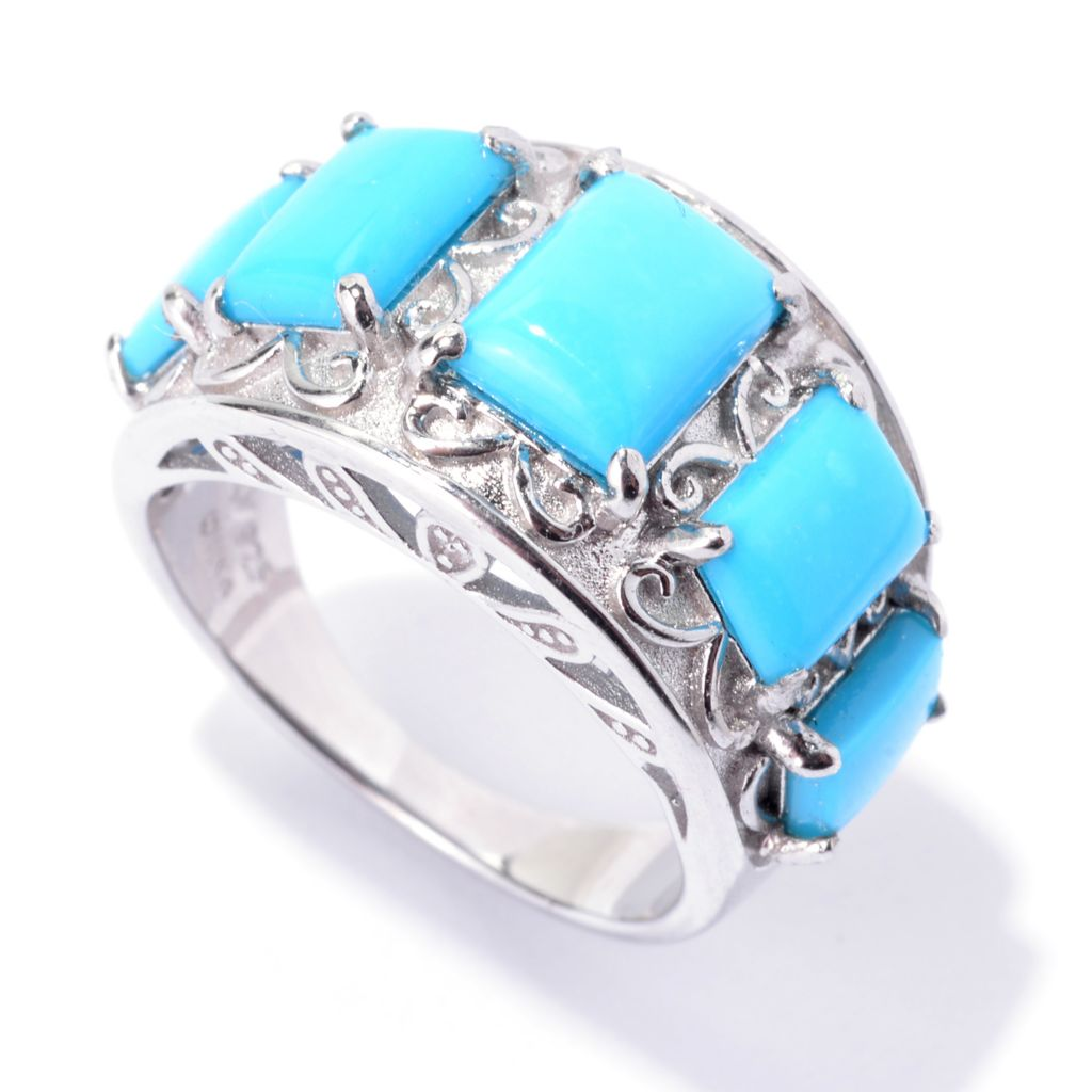 143-480 - Gem Insider Sterling Silver Sleeping Beauty Turquoise Five-Stone Ring