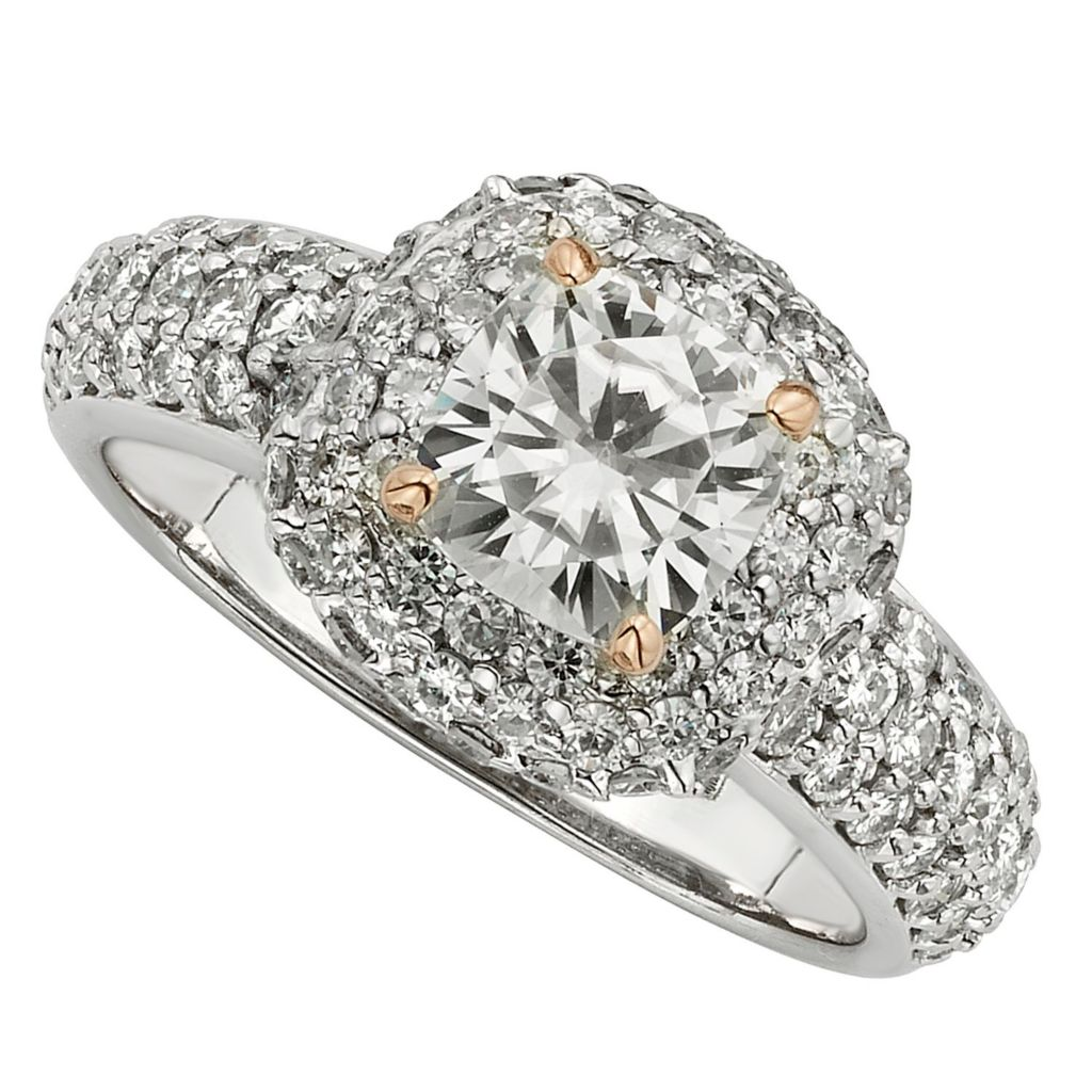 143-543 - Venazia™ Forever Brilliant® Moissanite 14K White & Rose Gold 2.68 DEW Halo Ring