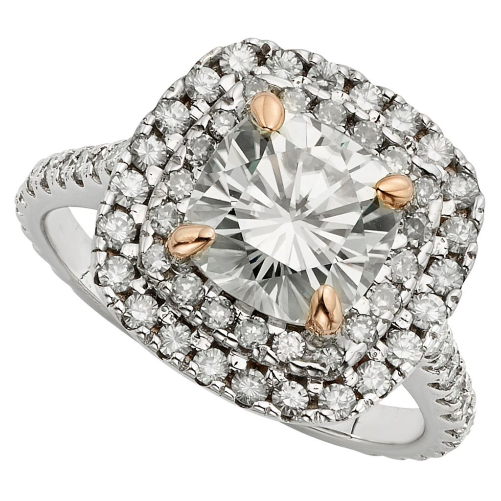 143-544 - Venazia™ Forever Brilliant® Moissanite 14K White & Rose Gold 3.20 DEW Double Halo Ring
