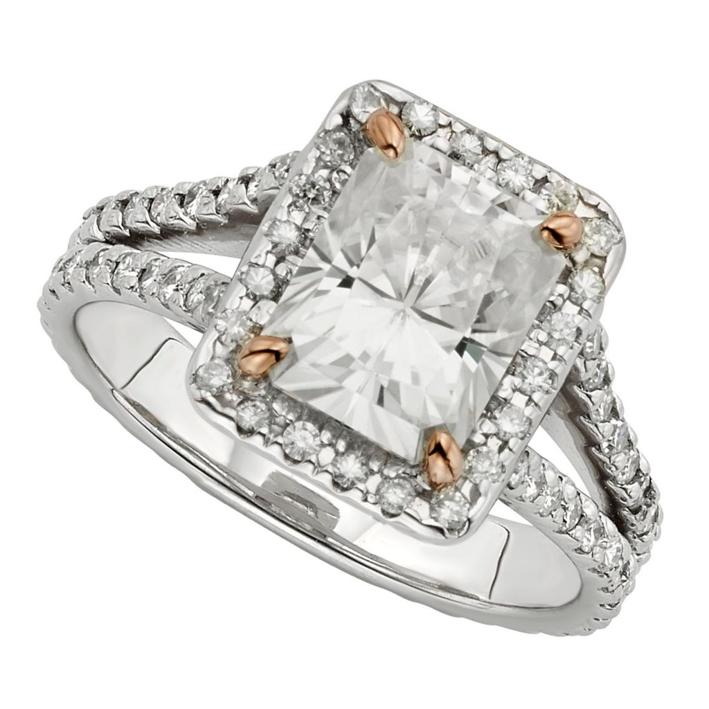 143-545 - Venazia™ Forever Brilliant® Moissanite 14K White & Rose Gold 3.88 DEW Split Shank Ring
