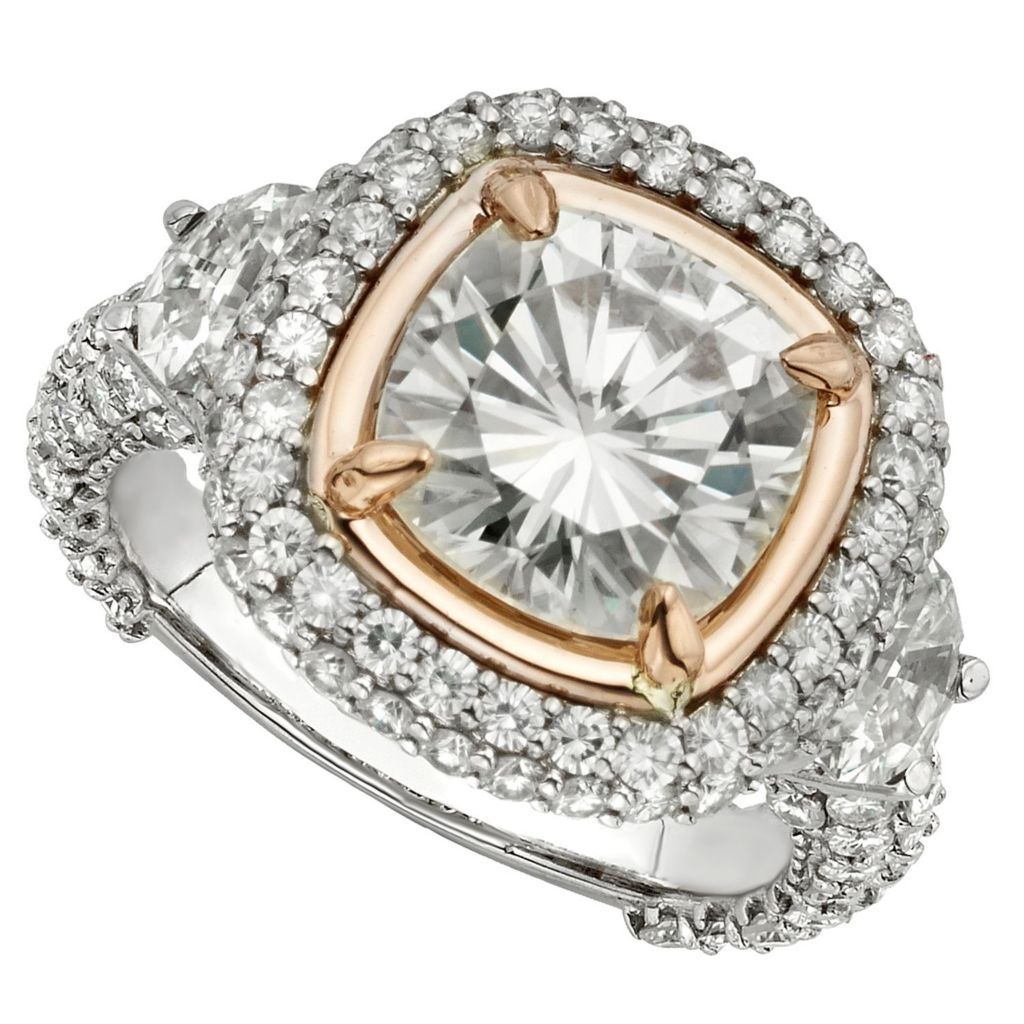 143-546 - Venazia™ Forever Brilliant® Moissanite 14K White & Rose Gold 5.44 DEW Ring