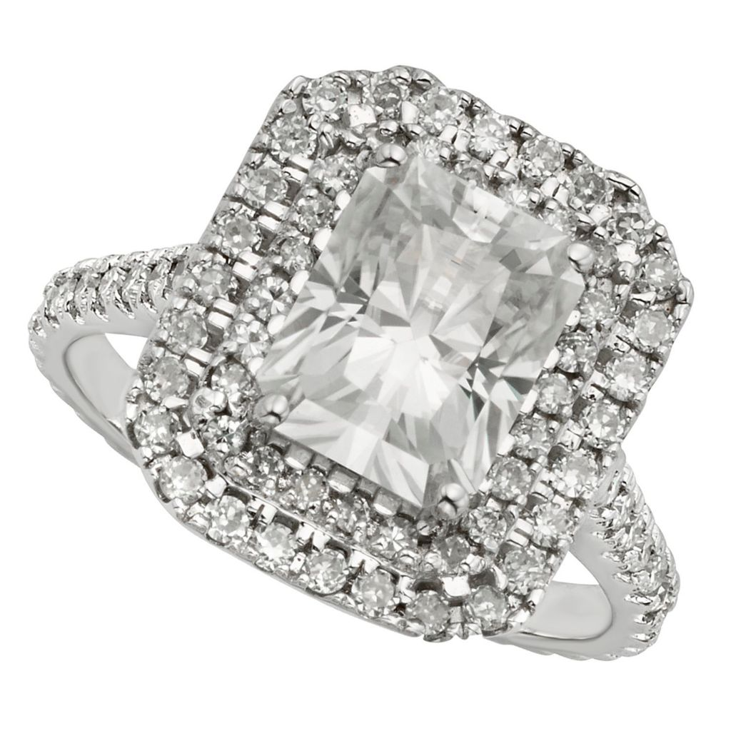 143-547 - Venazia™ Forever Brilliant® Moissanite 14K White & Rose Gold 3.68 DEW Radiant Cut Ring