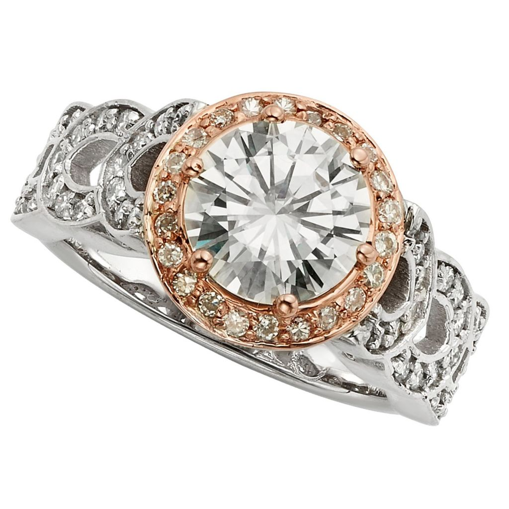 143-548 - Venazia™ Forever Brilliant® Moissanite 14K White & Rose Gold 2.67 DEW Brilliant Halo Ring