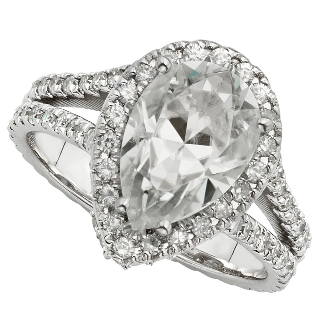 143-550 - Venazia™ Forever Brilliant® Moissanite 14K White Gold 4.41 DEW Pear Shaped Halo Ring