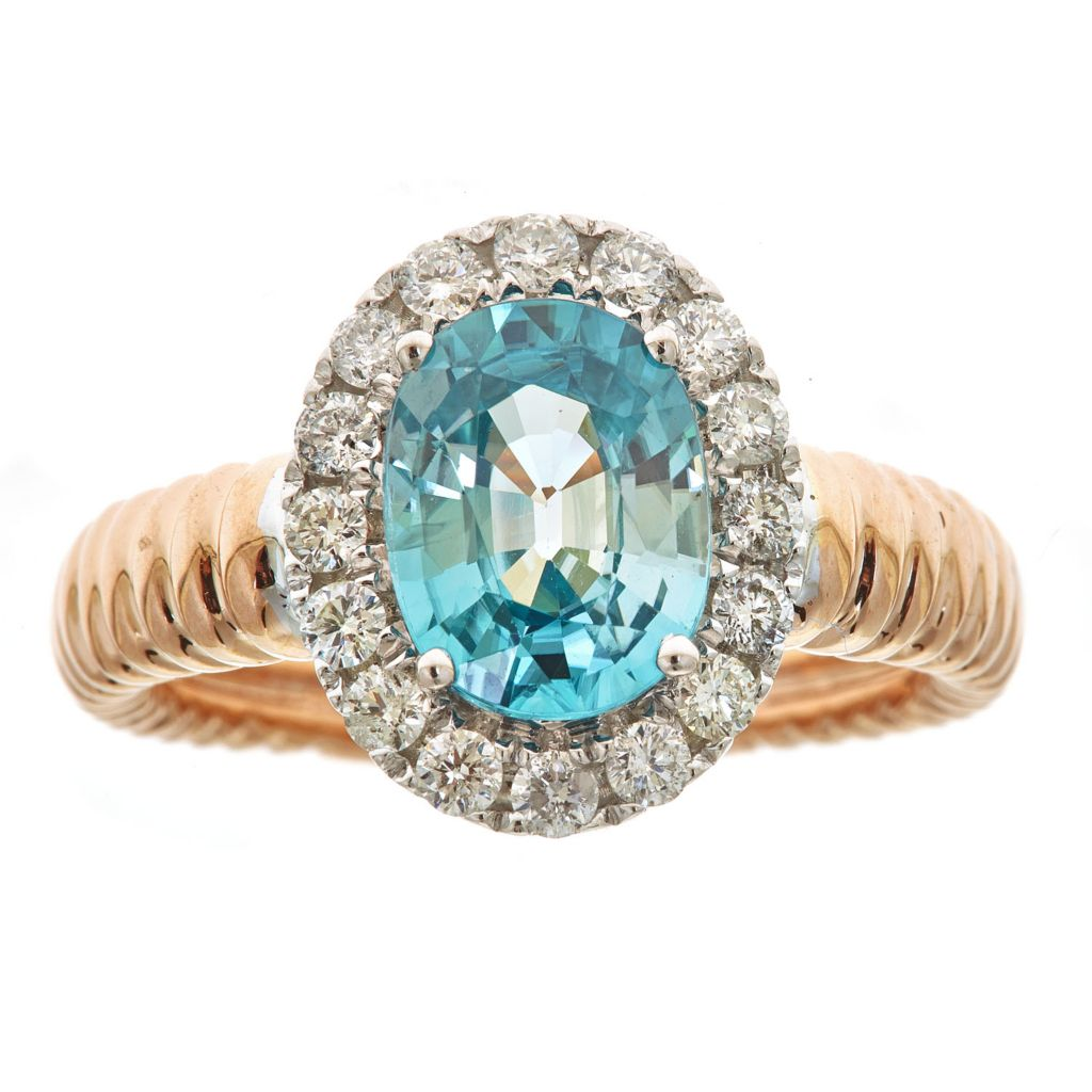 143-552 - Fierra™ 14K Two-tone Gold 4.18ctw Oval Cut Blue Zircon & Diamond Halo Ring - Size 7