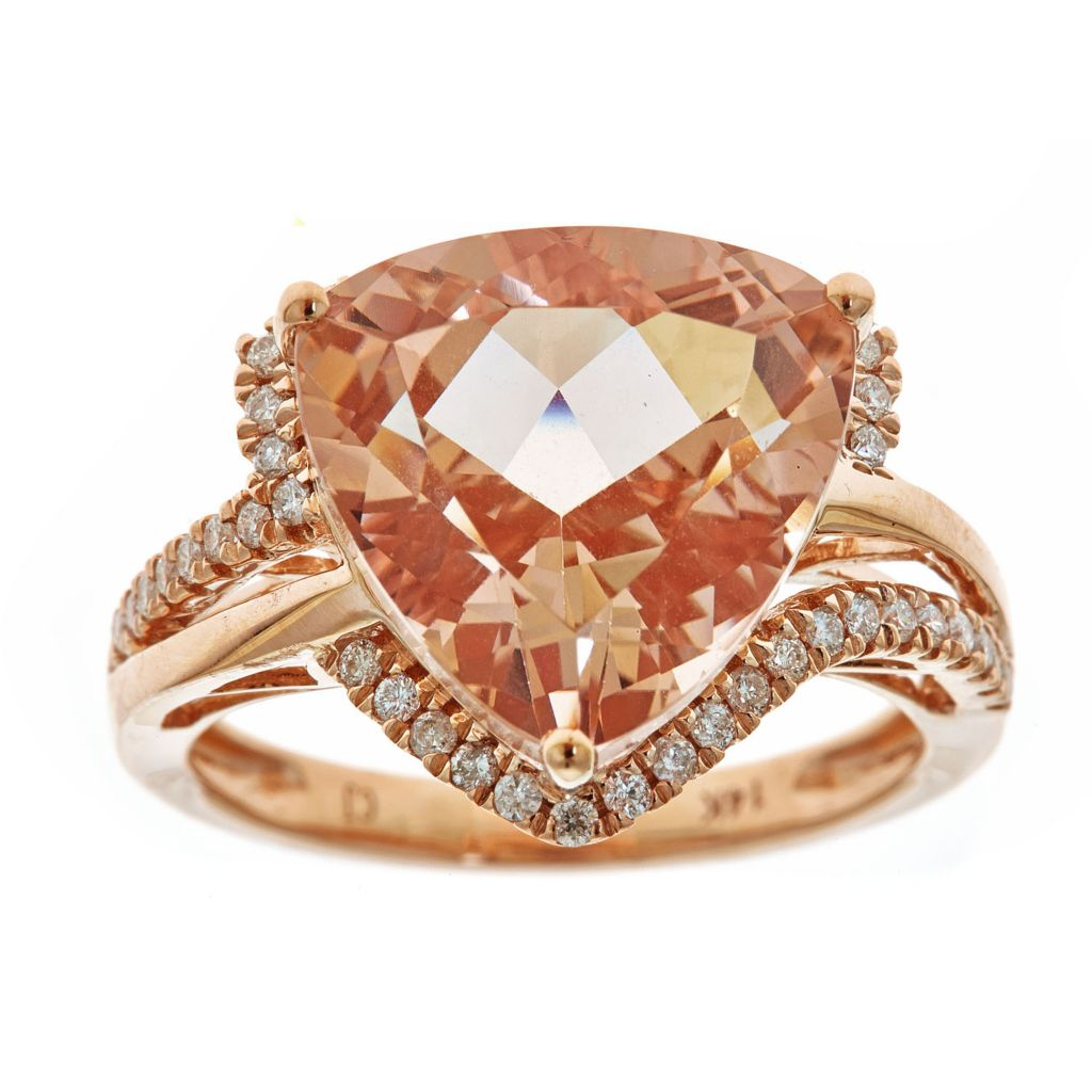 143-554 - Fierra™ 14K Rose Gold 8.73ctw Trillion Cut Morganite & Diamond Halo Ring - Size 7
