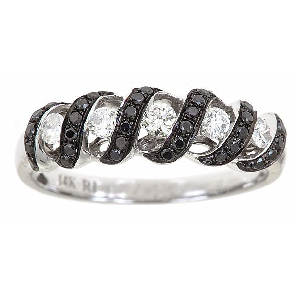 143-559 - Fierra™ 14K White Gold 0.47ctw Black & White Diamond Ring - Size 7