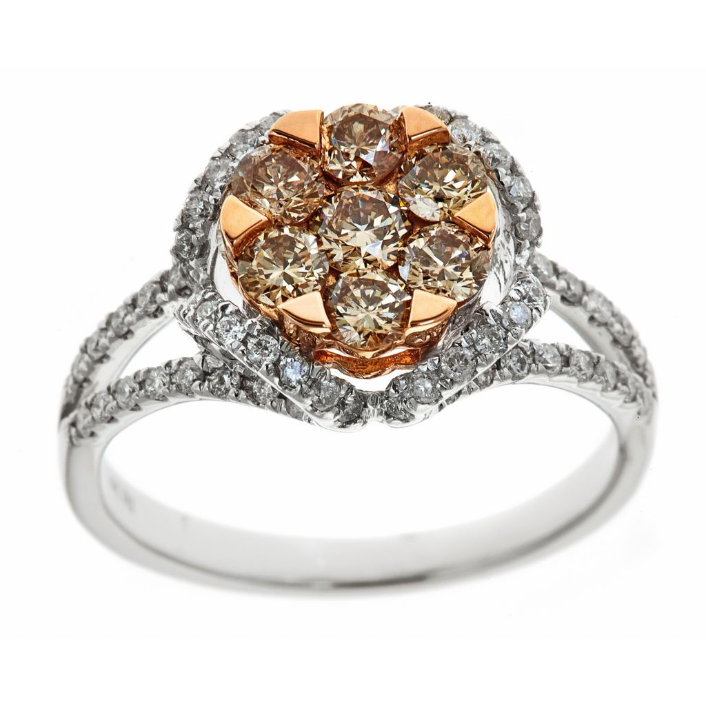 143-560 - Fierra™ 14K Two Tone Gold 1.25ctw Mocha & White Diamond Ring - Size 7
