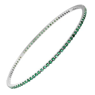 143-741 - Sonia Bitton Galerie de Bijoux 14K White Gold 2.50ctw Emerald Slip-on Bangle Bracelet