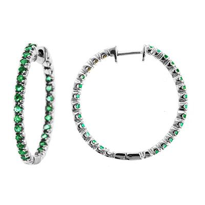 "143-742 - Sonia Bitton Galerie de Bijoux 14K White Gold 1"" 1.25ctw Emerald Inside-Out Hoop Earrings"